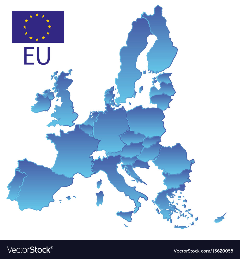Simple all european union countries in blue map vector image