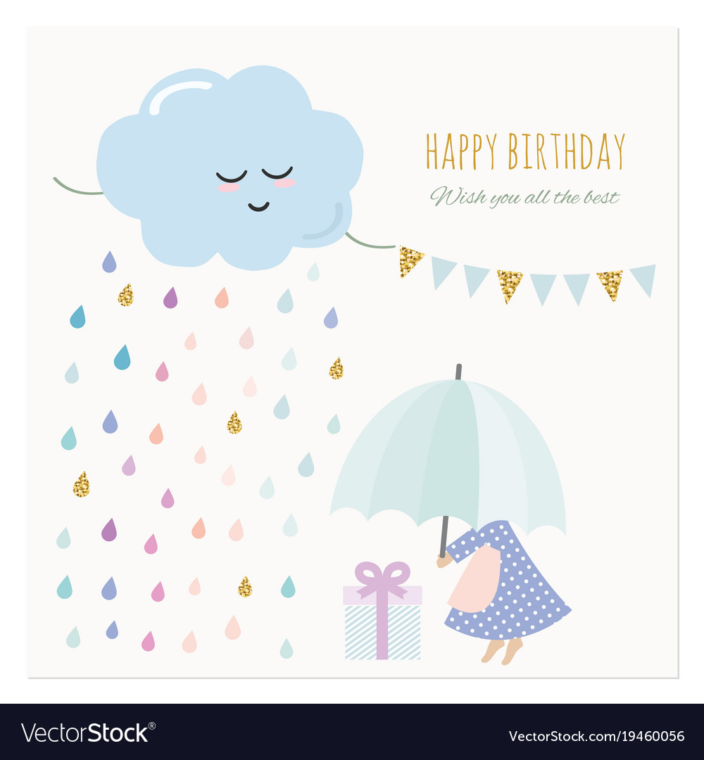 Cute birthday card with little girl and colorful vector image bookmarktalkfo Choice Image