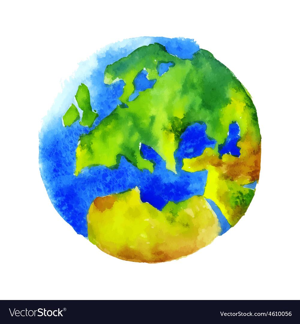 Watercolor globe vector image