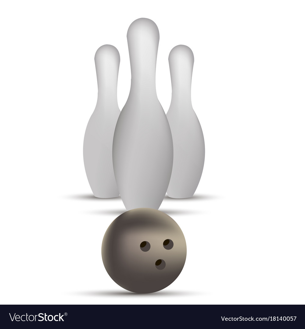 Bowling ball game strike pin sport design vector image