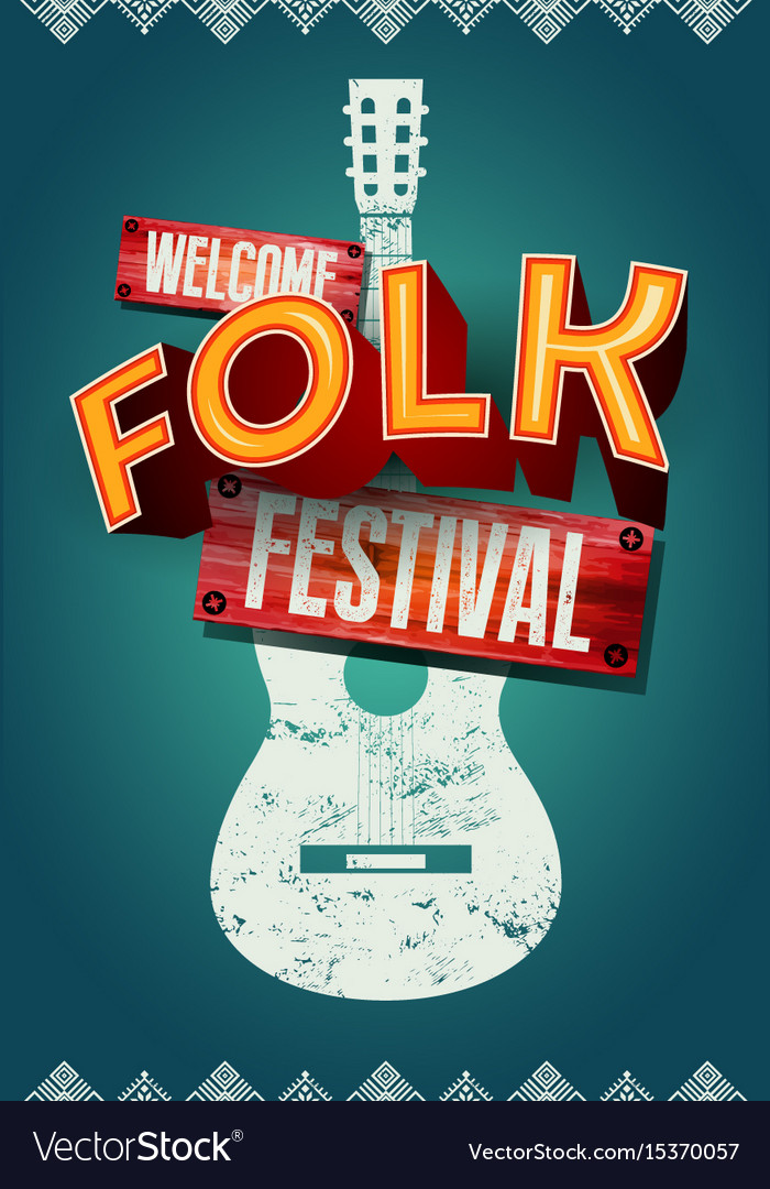 Folk festival poster with acoustic guitar shape vector image