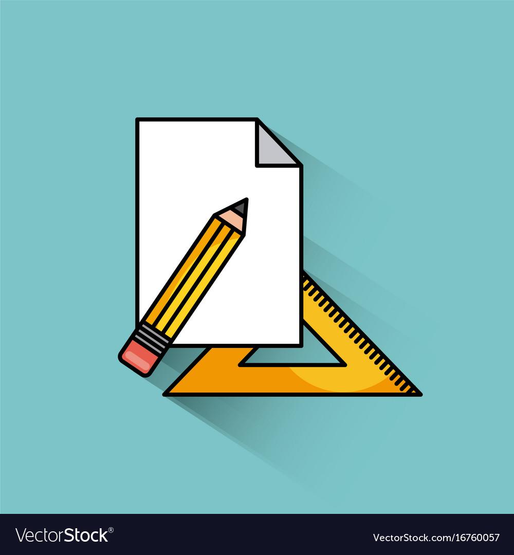 Pencil ruler paper vector image