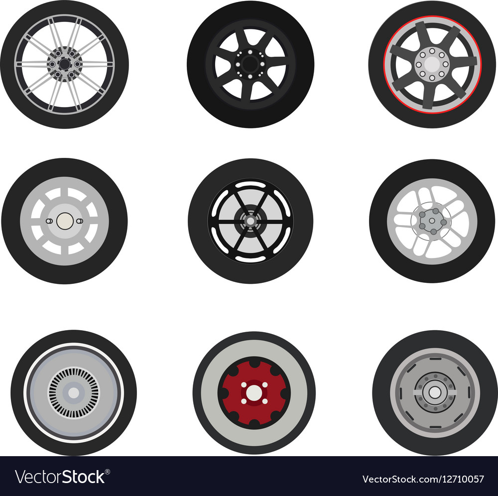 Retro cars classic and sport cars wheel set vector image