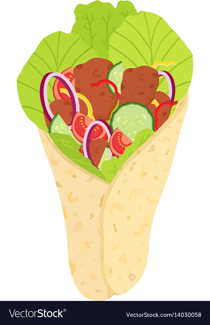 Turkish shawarma arabic fried meat and vegetables vector image