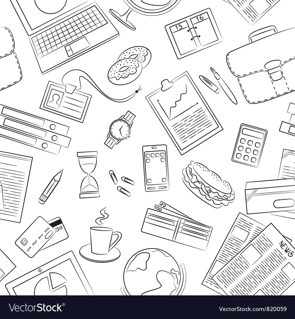 Business theme seamless pattern vector image