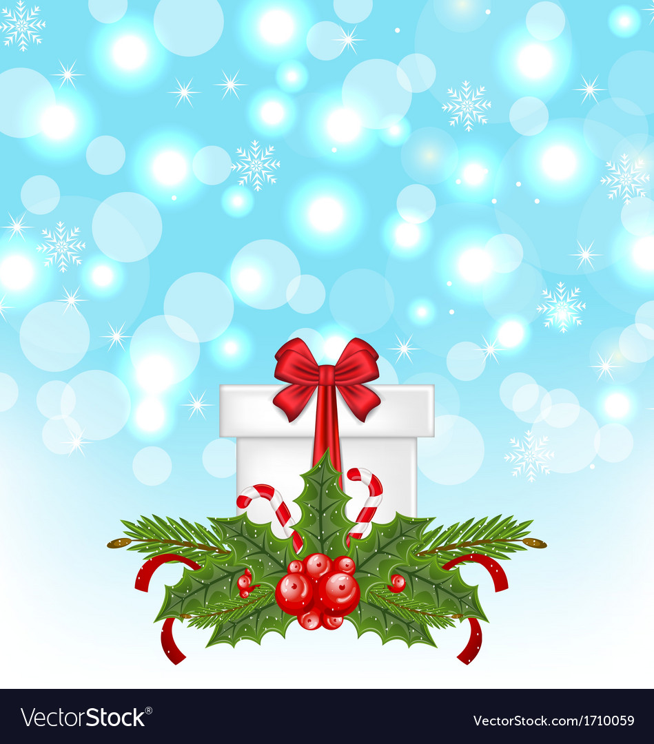 Christmas gift box with holiday decoration vector image