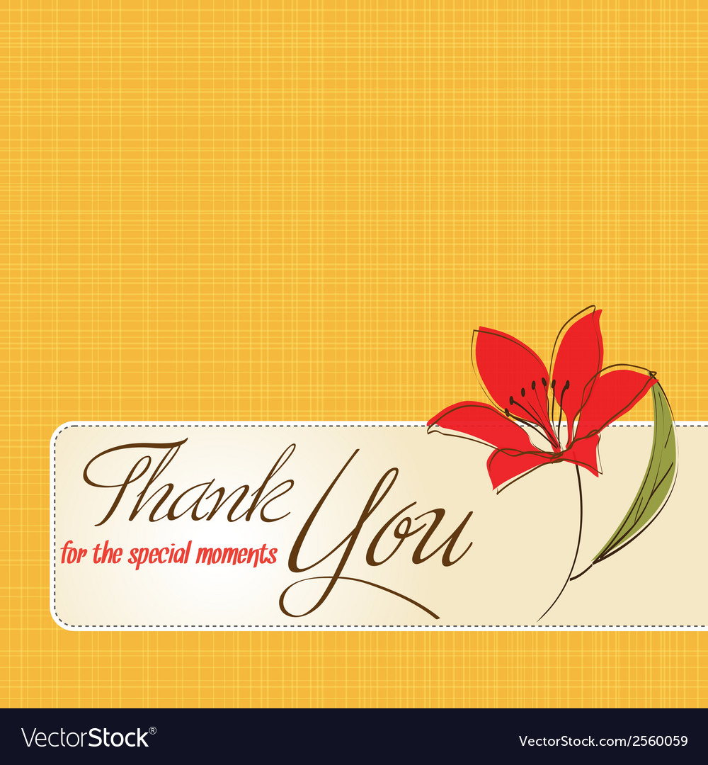 Thank you greeting card with flower royalty free vector thank you greeting card with flower vector image kristyandbryce Images
