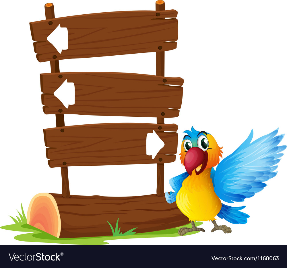 A parrot beside a signboard Vector Image