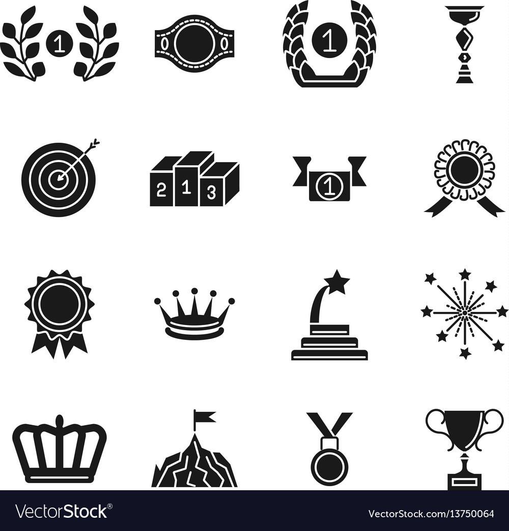 Award icons black competition awarding and vector image