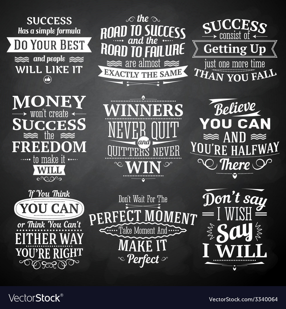 Success quotes chalkboard set vector image