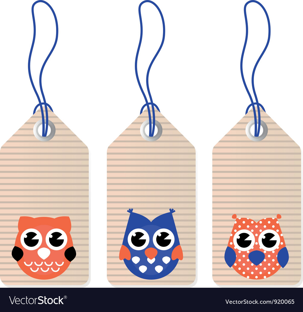 Cute halloween owl blank tags vector image