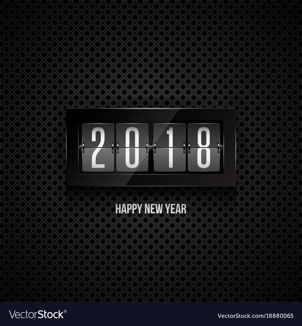 Happy new year 2018 flip clock vector image