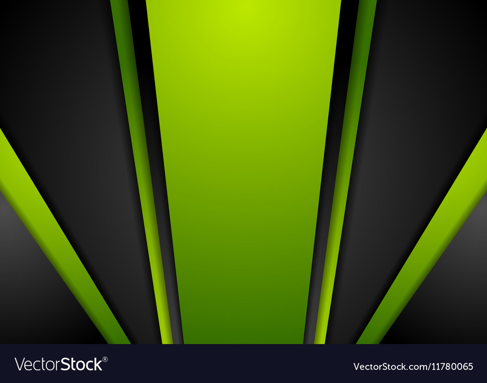 Vibrant green black abstract background vector image