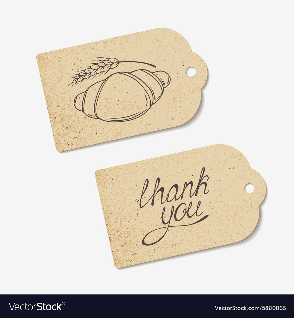 Craft paper tags with thank you hand lettering and craft paper tags with thank you hand lettering and vector image jeuxipadfo Choice Image