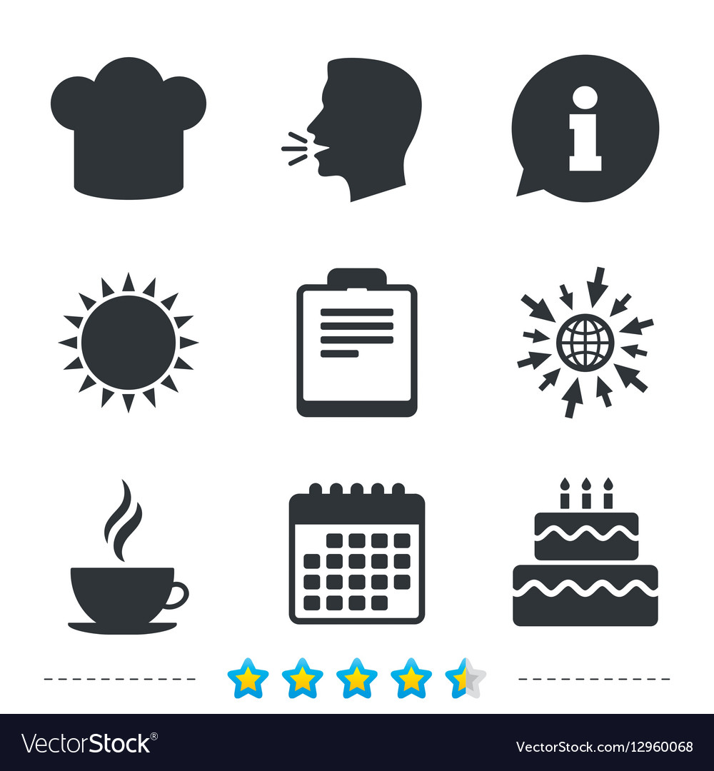 Coffee cup icon Chef hat symbol Birthday cake vector image