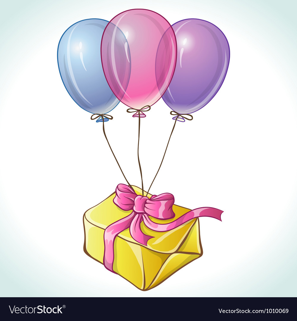Happy birthday card with balloons and gift Vector Image – Birthday Card Gift