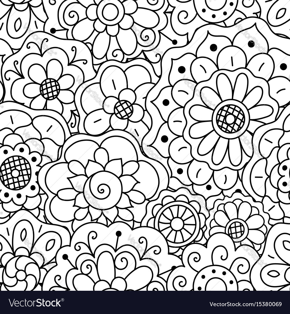 seamless pattern hand drawn floral doodle mandala vector image
