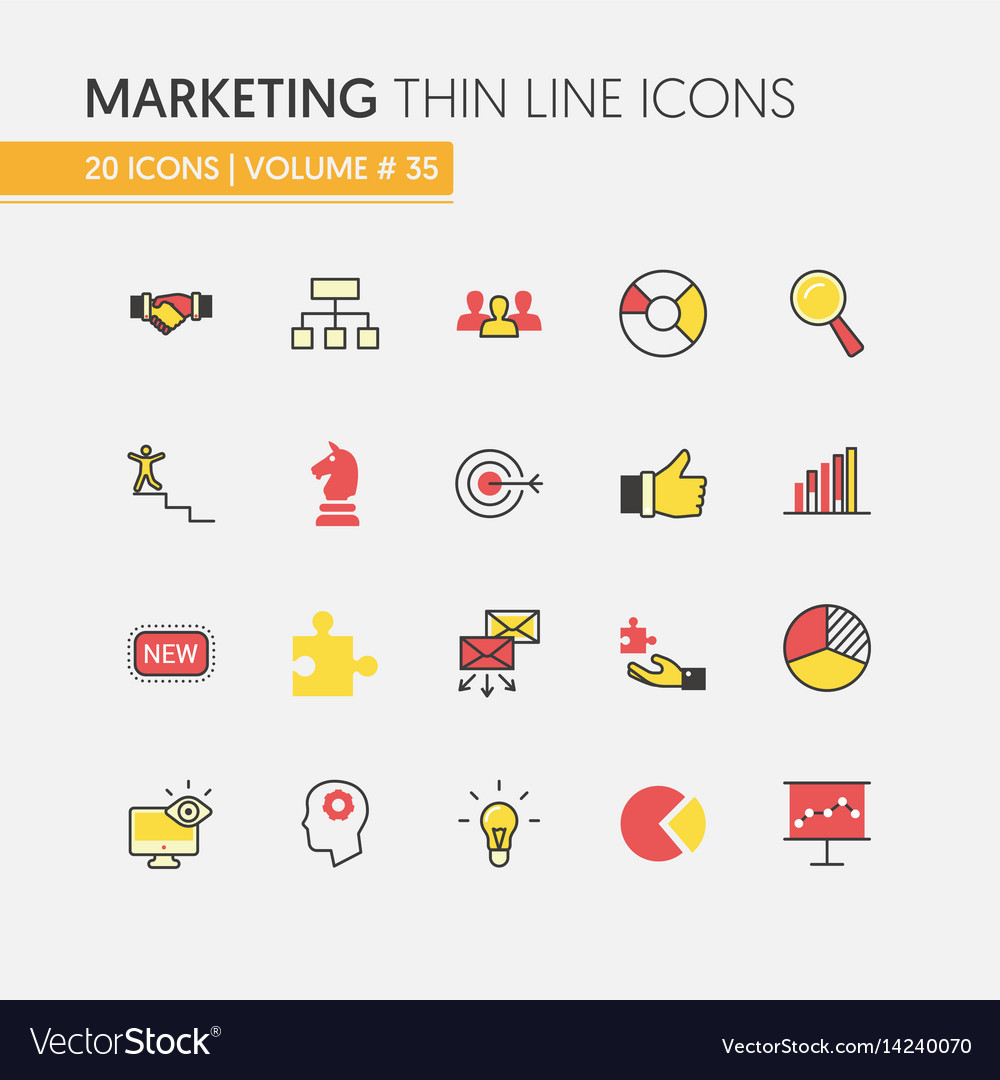 Marketing strategy linear thin line icons vector image