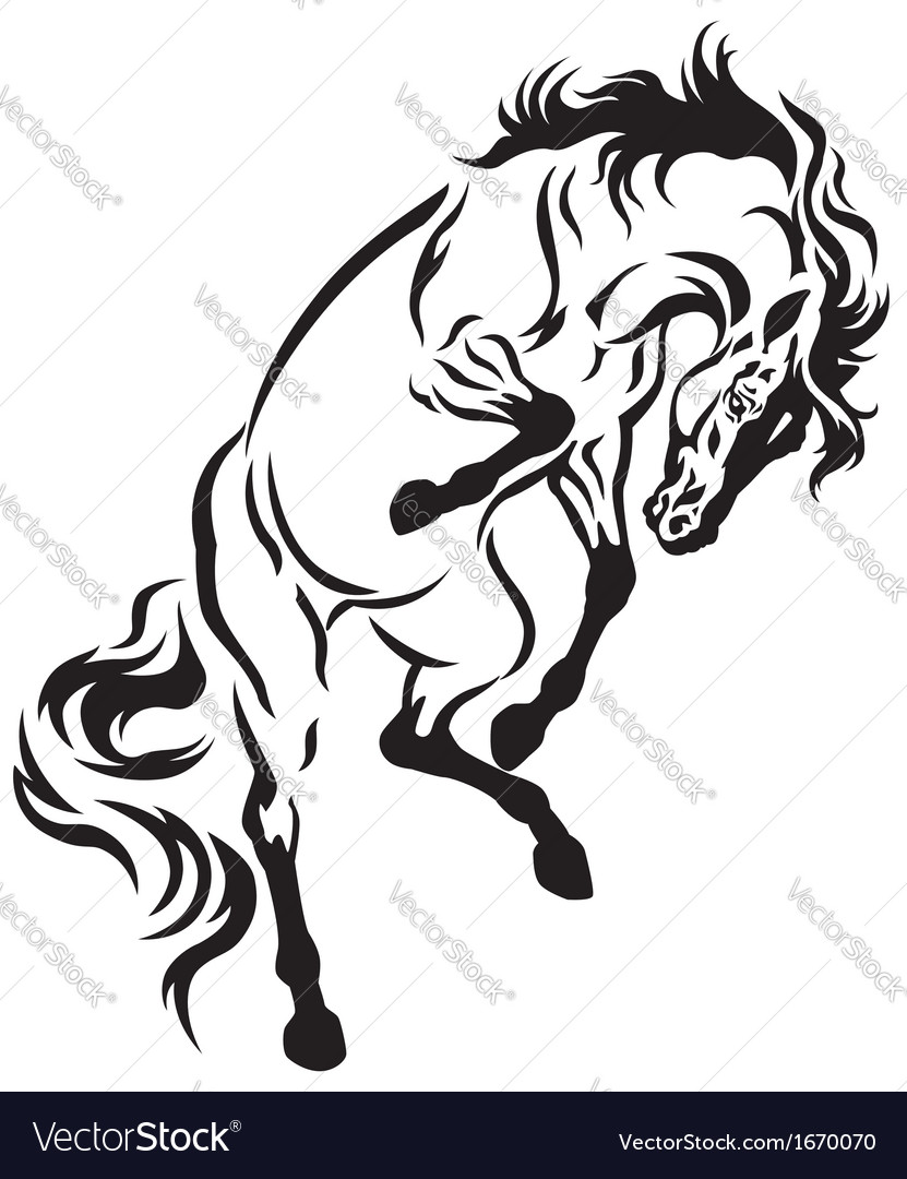 rearing horse tattoo royalty free vector image