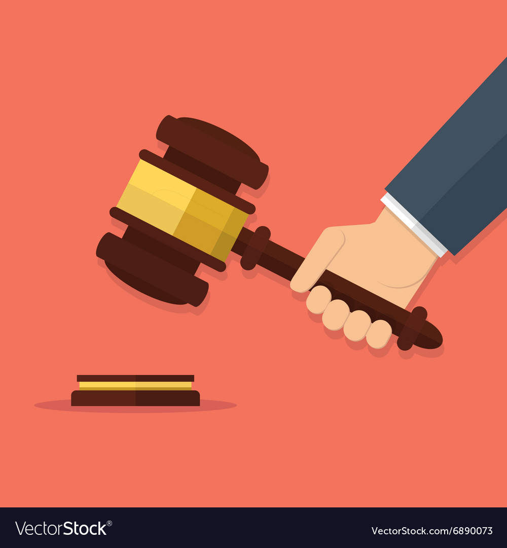 Hand holding judges gavel vector image