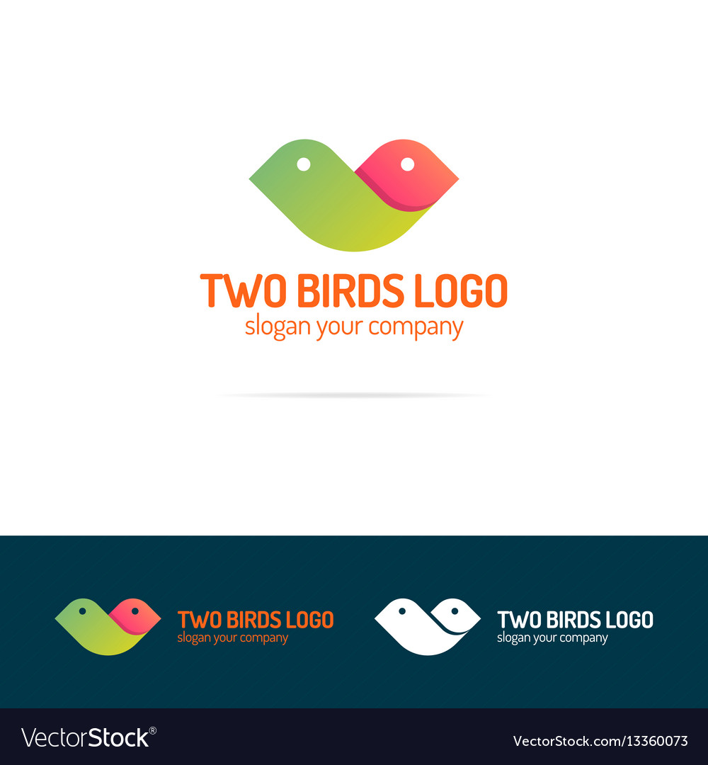 Two birds logo set flat modern color style vector image
