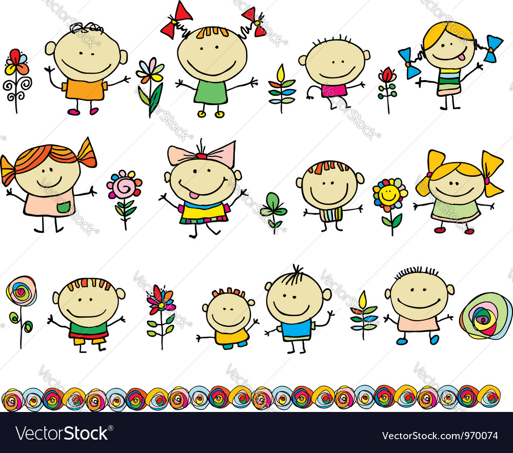 Cute cartoon kids vector image