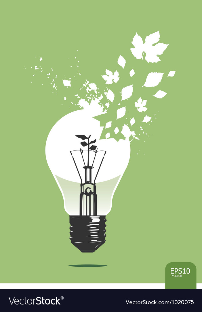 Light save plant concept Vector Image