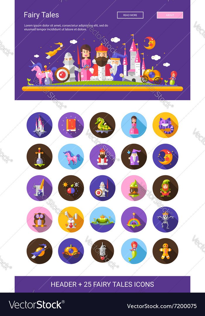 Fairy tales flat design cartoon characters icons vector image