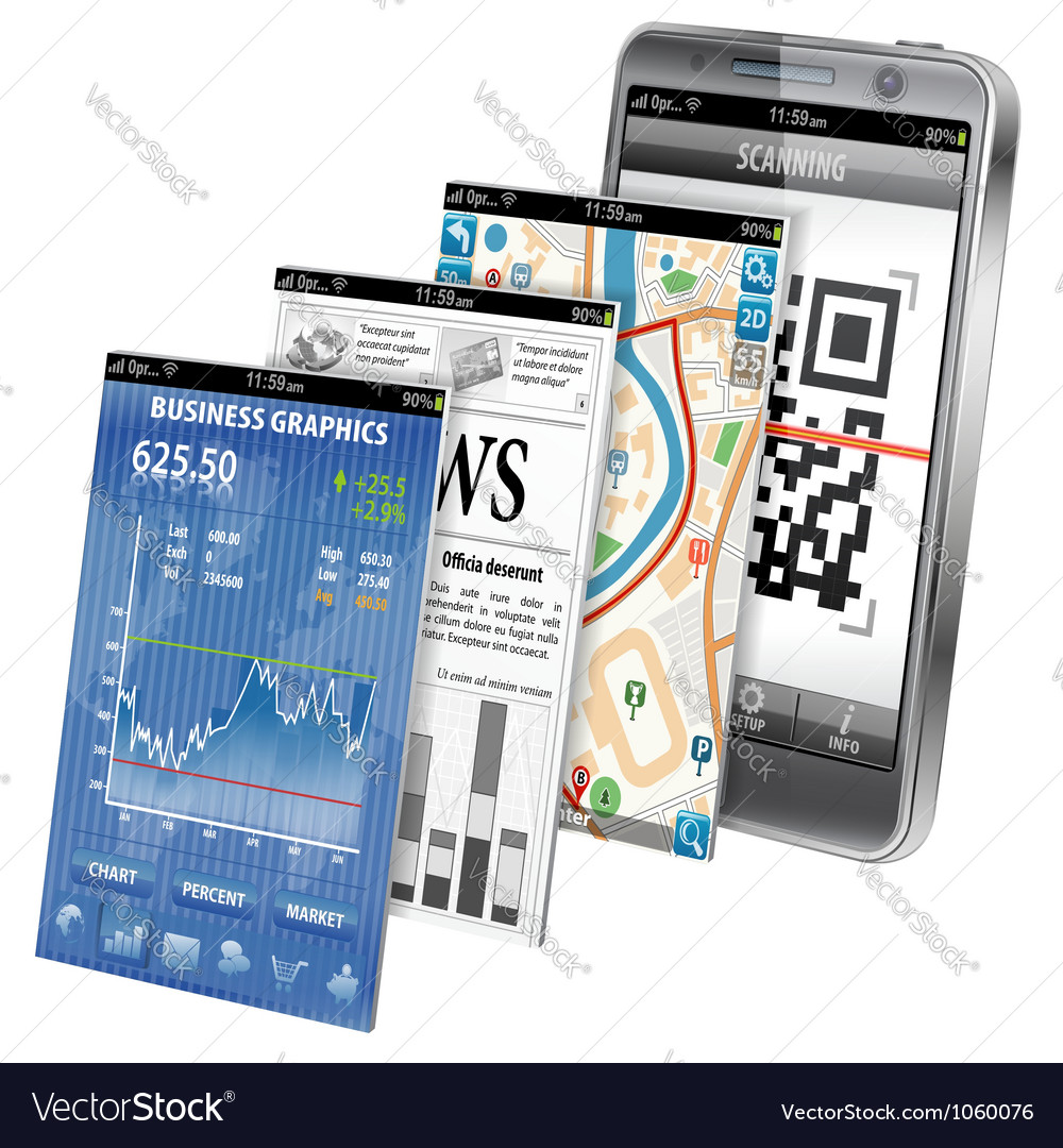 Concept - Smartphone Applications vector image