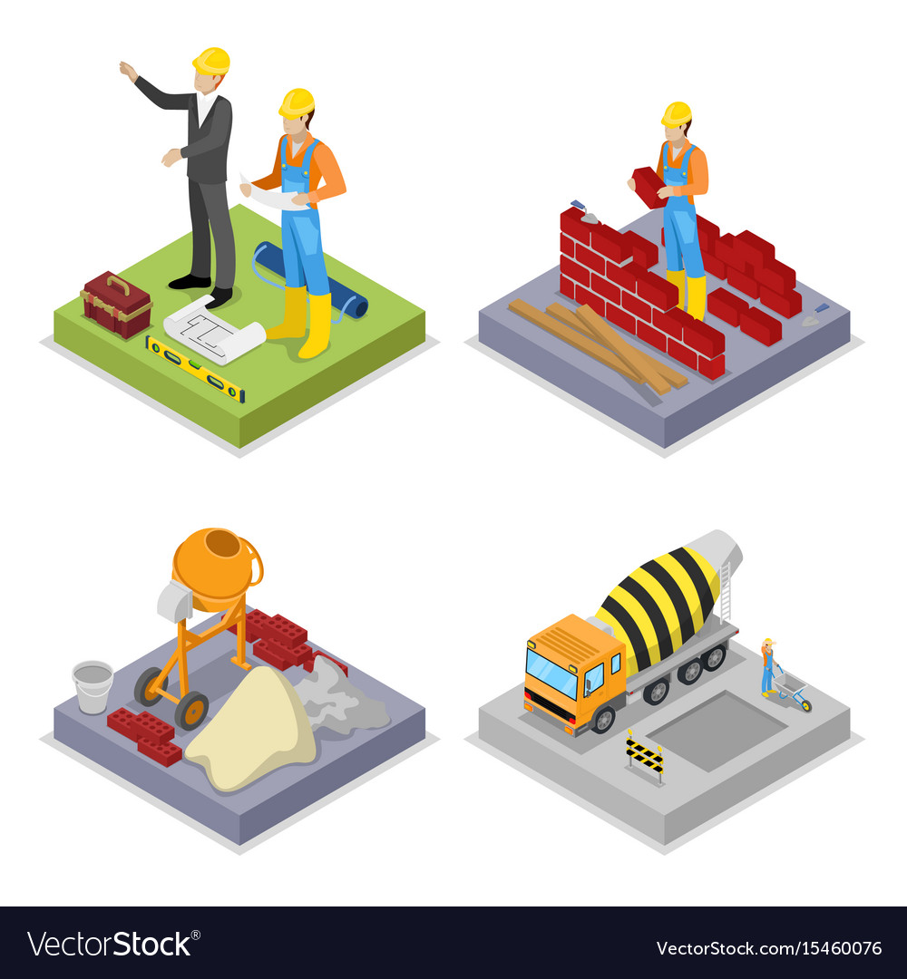Isometric construction industry workers mixer vector image