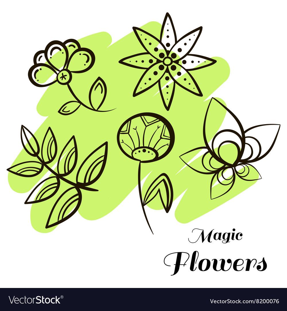 Set Magic Flowers vector image