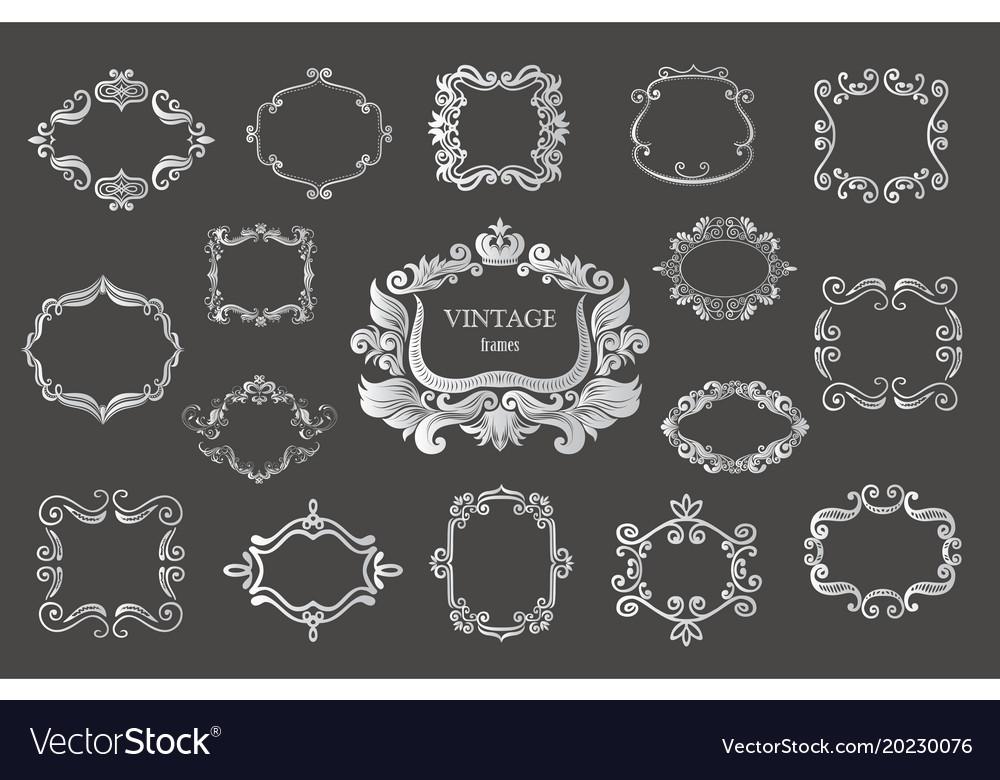 Set of silver vintage floral frames and monograms vector image