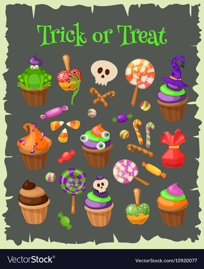 Trick or Treat Traditional sweets and candies for vector image