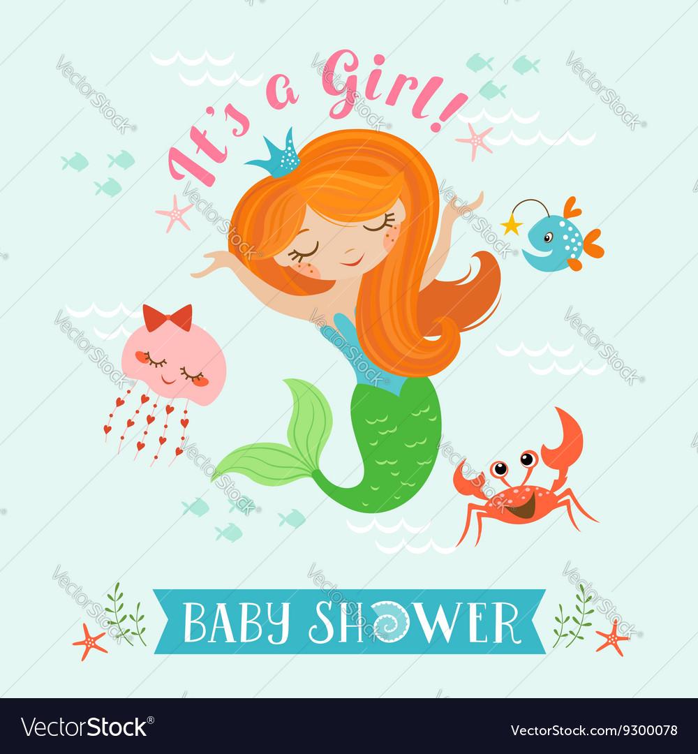 Mermaid Baby Shower Vector Image