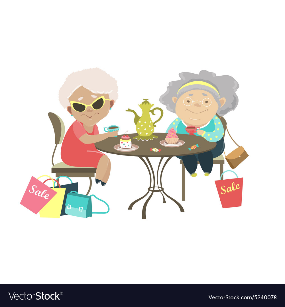 Two old women talking in a cafe after shopping vector image