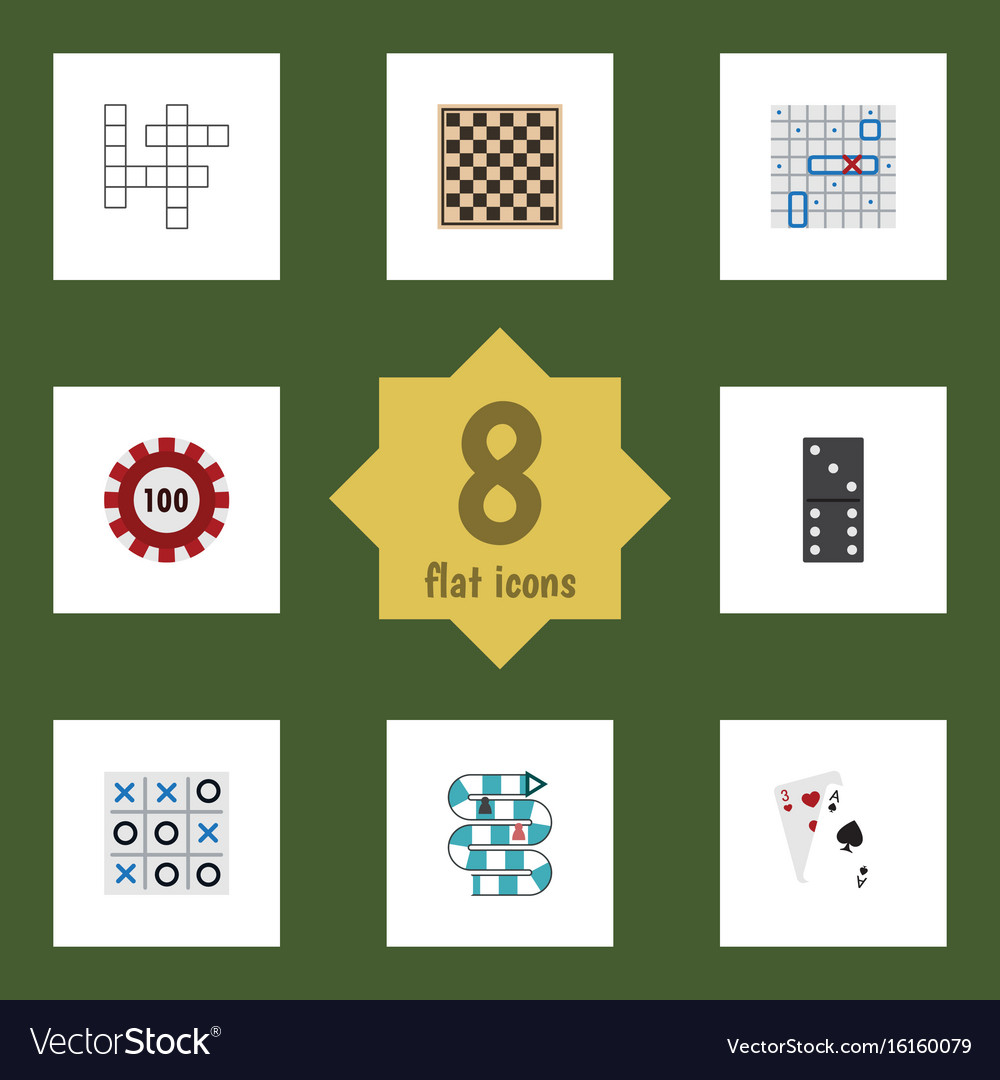 Flat icon play set of chess table ace poker and vector image