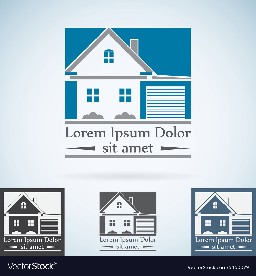 Real Estate logo design template color set House vector image