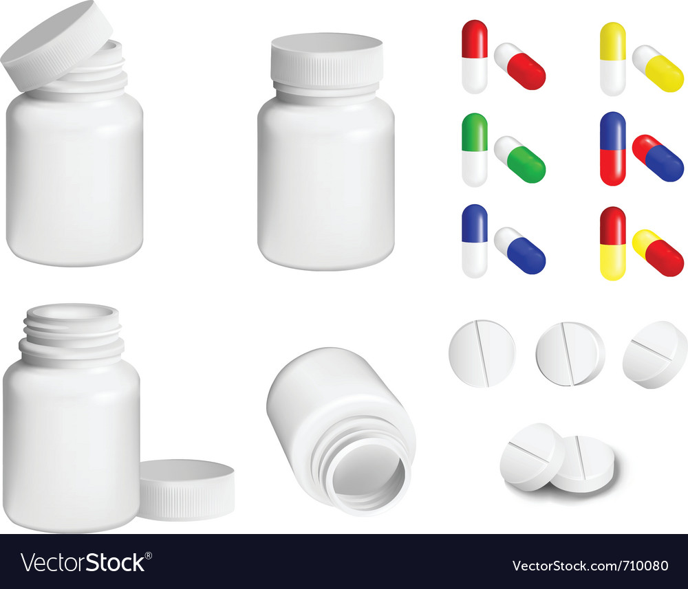 Pills and bottle vector image