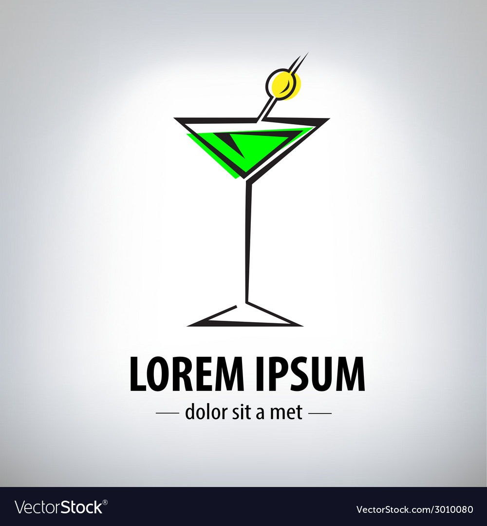 Cocktail party glass design logo vector image