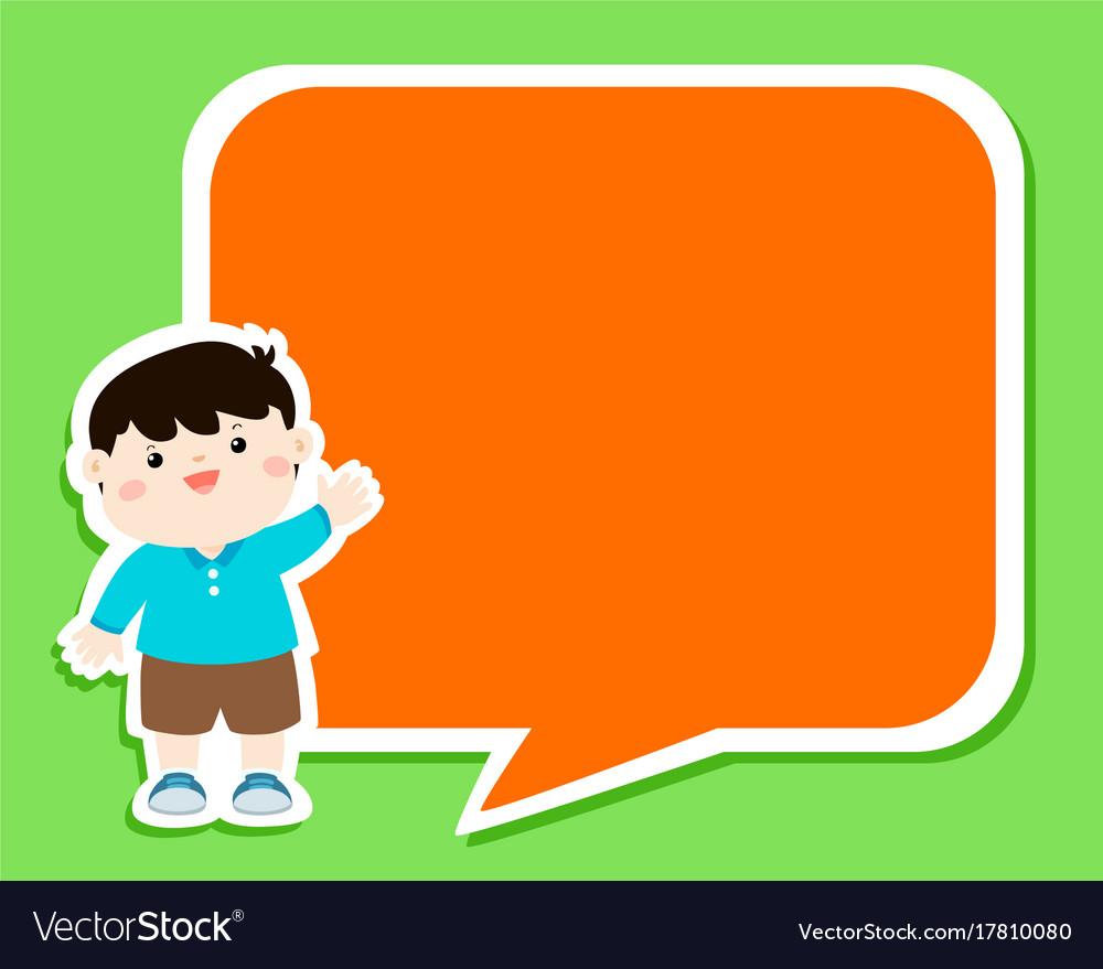 Happy little boy kid with empty speech bubble vector image