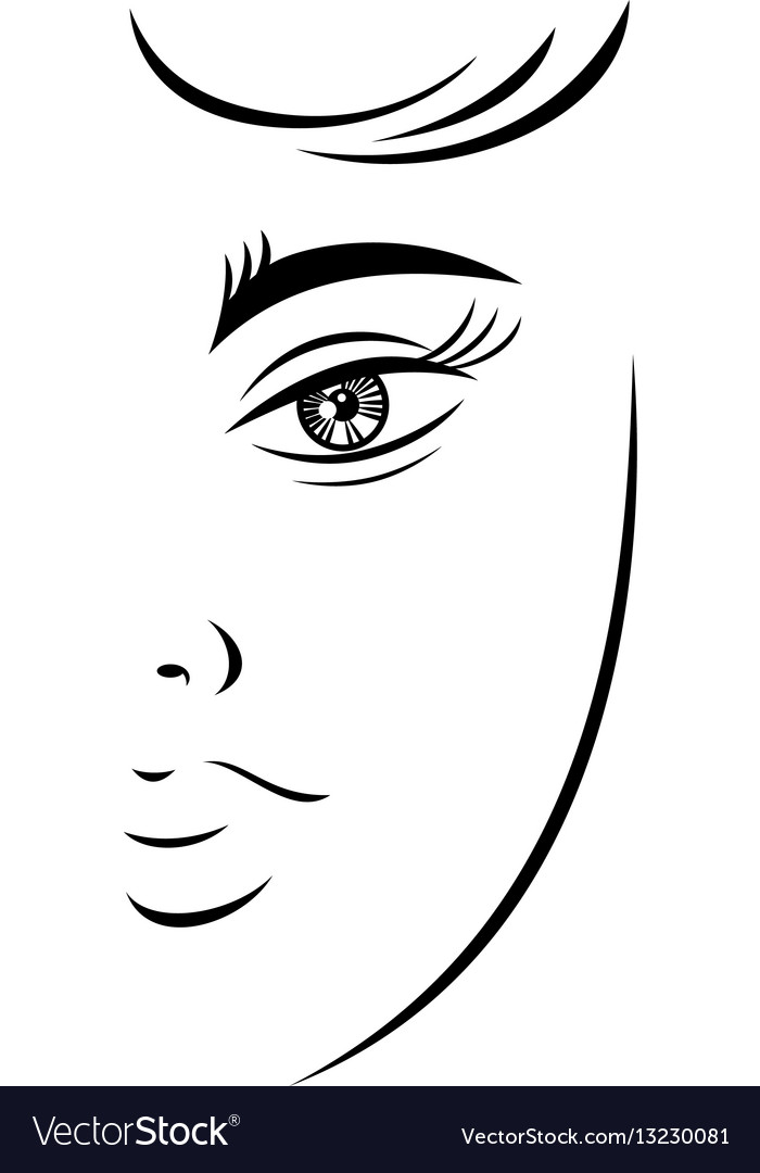 Outline drawing young female face vector image