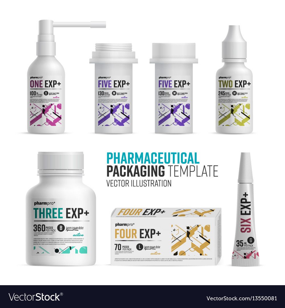 Pharmacy package template on white background vector image