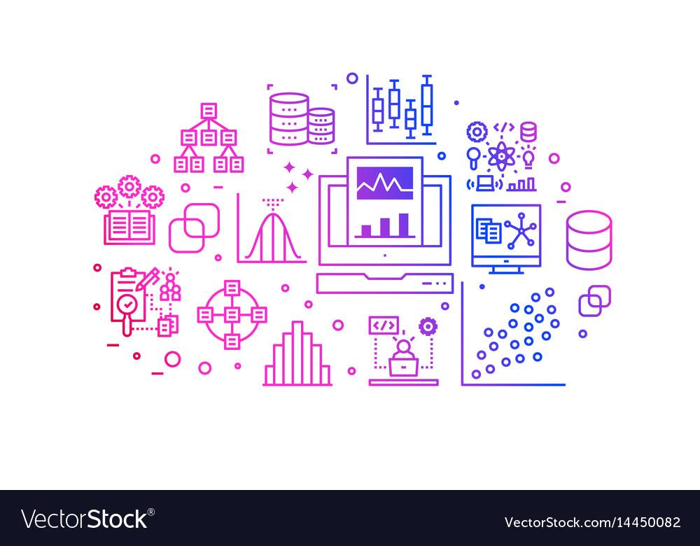 Data analysis gradient line icons vector image