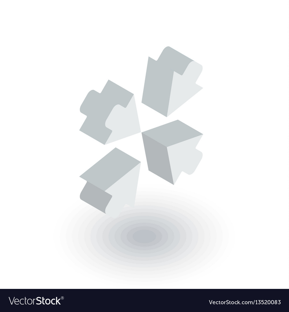 Arrows in the center isometric flat icon 3d vector image