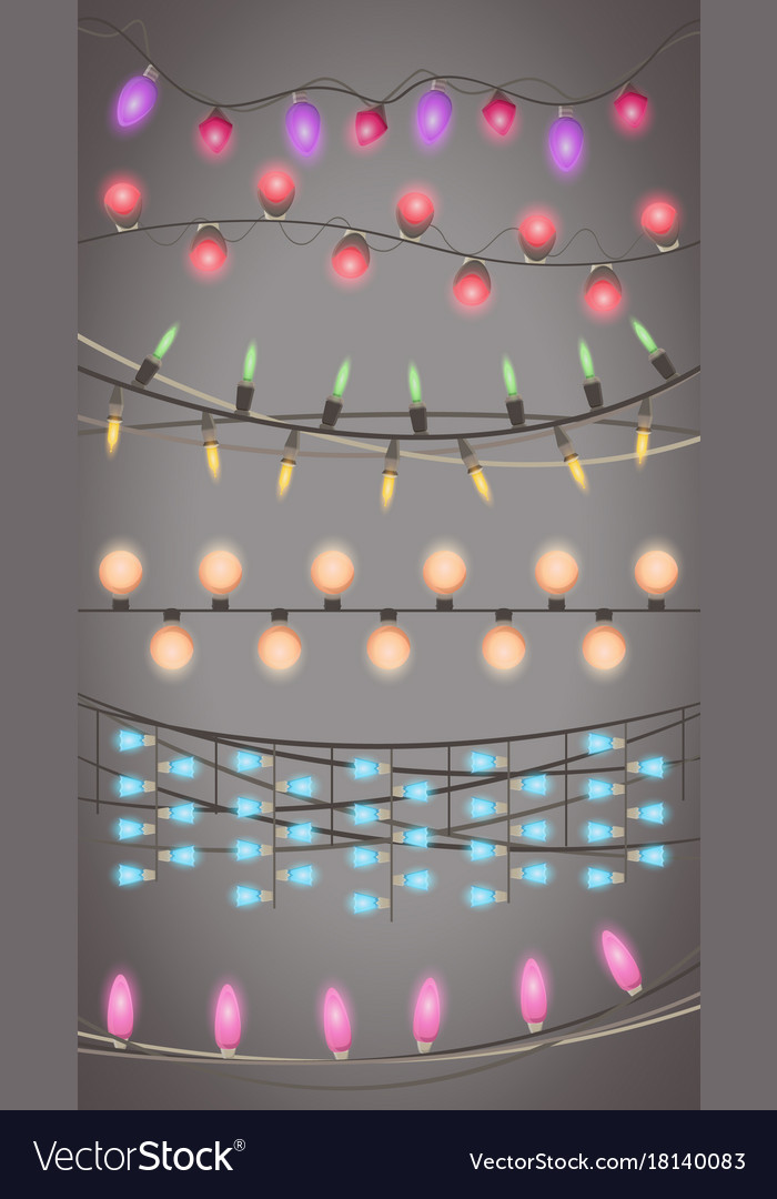 Christmas lights garland isolated design xmas vector image