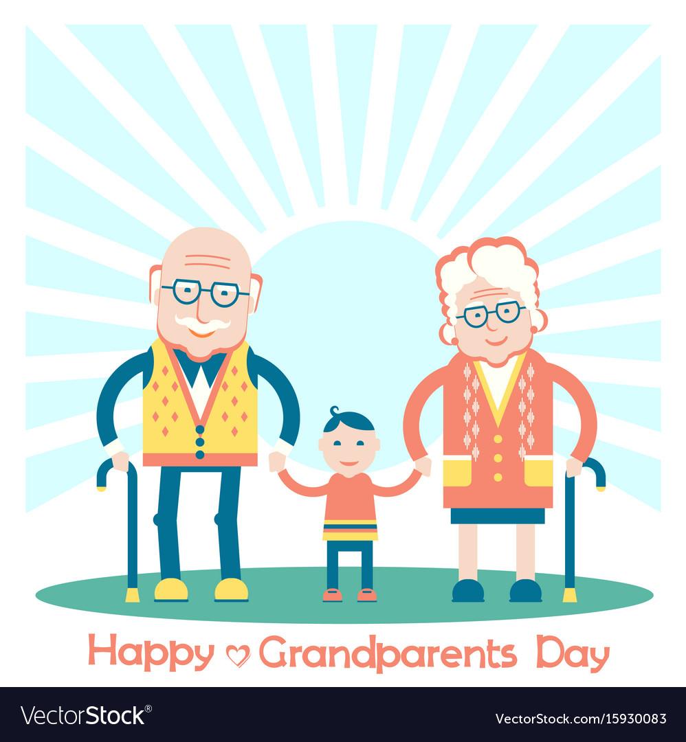Grandparents with grandchild family vector image