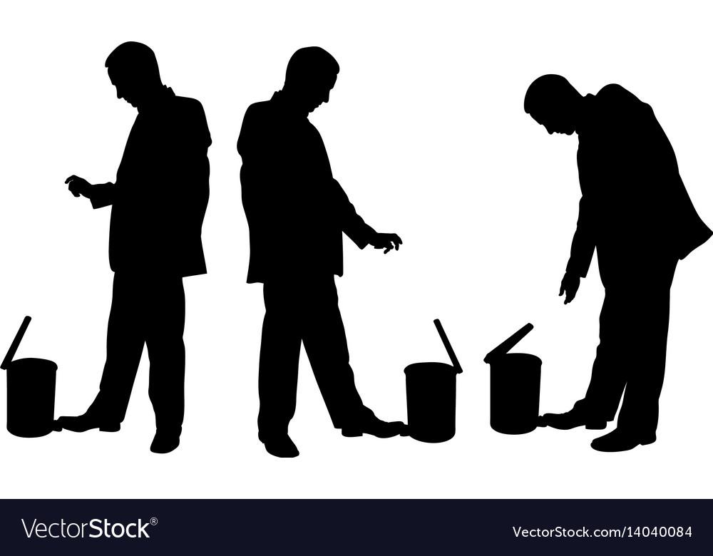 People throwing garbage in the waste basket vector image