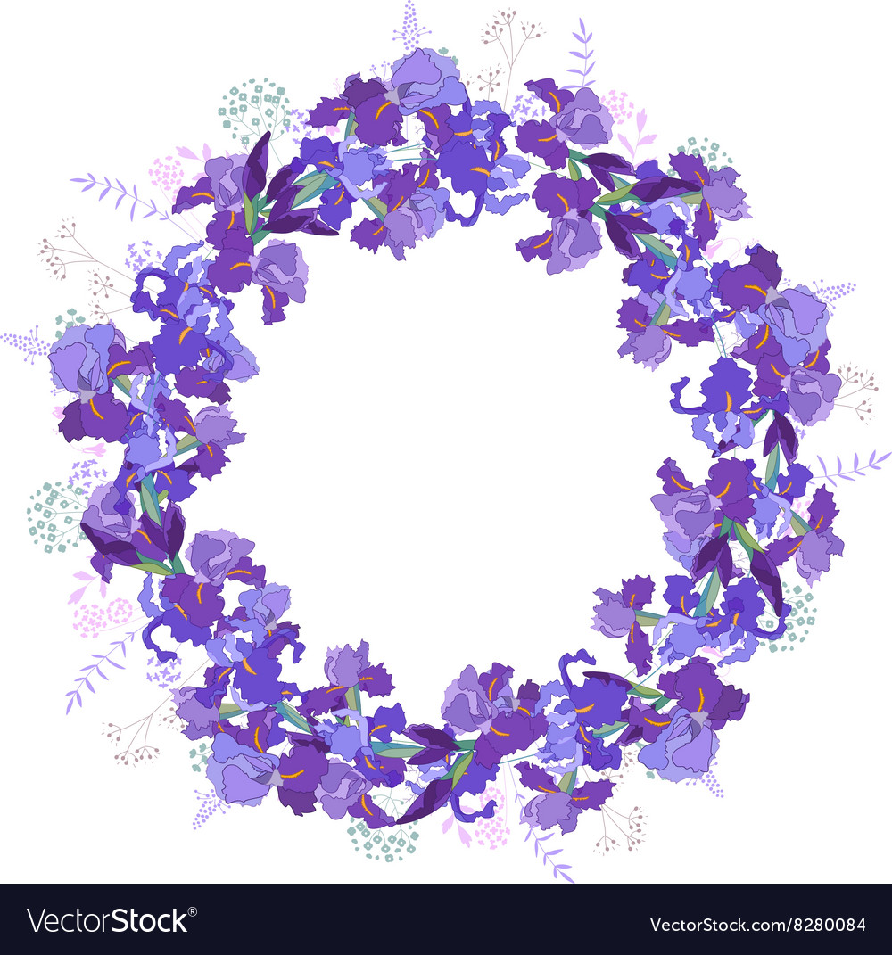Round frame with contour dandelions and herbs on vector image