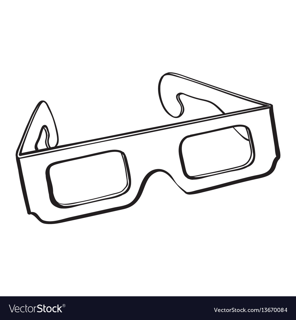 Stereoscopic 3d glasses in black plastic frame vector image
