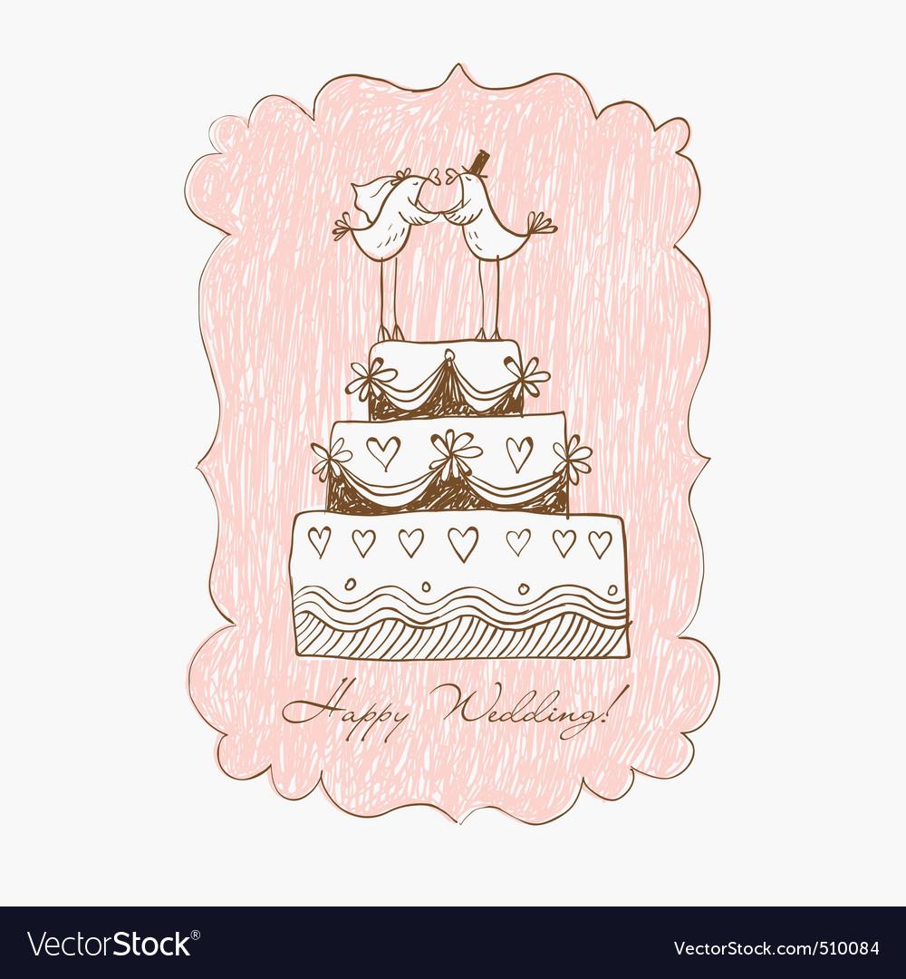 Wedding cake hand draw vector image